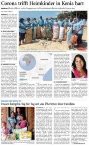 Zeitungsbericht: Corona trifft Heimkinder in Kenia hart